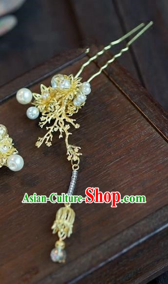 Chinese Handmade Ancient Golden Hair Clip Hair Accessories Ancient Hanfu Hairpins for Women