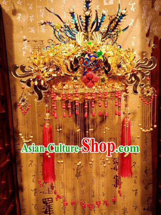 Chinese Ancient Handmade Phoenix Coronet Bride Hairpins Hair Accessories Tassel Step Shake Complete Set for Women