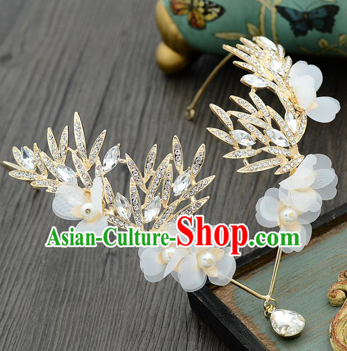 Handmade Baroque Bride Crystal Frontlet Hair Clasp Wedding Hair Jewelry Accessories for Women