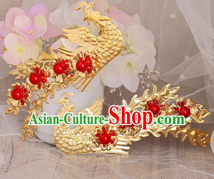 Chinese Ancient Handmade Red Beads Phoenix Hairpins Bride Hair Accessories Headwear for Women
