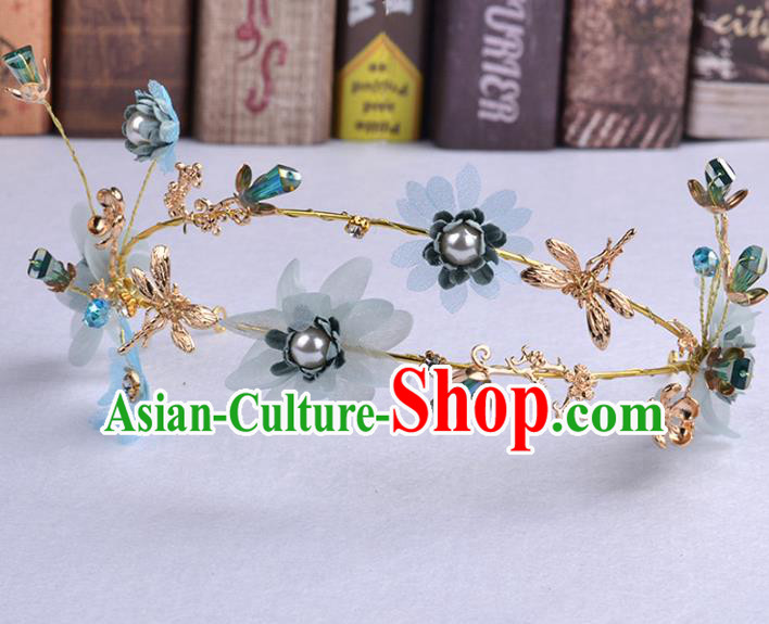 Handmade Baroque Bride Blue Flowers Dragonfly Hair Clasp Wedding Hair Jewelry Accessories for Women