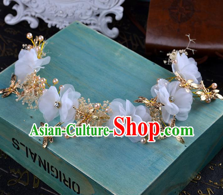Handmade Baroque Bride White Flowers Dragonfly Hair Clasp Wedding Hair Jewelry Accessories for Women