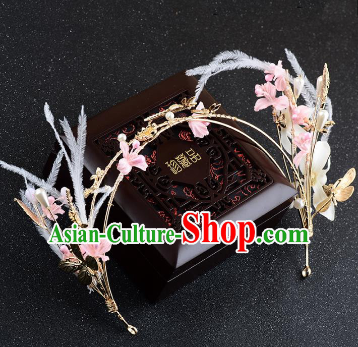 Handmade Baroque Bride Feather Pink Flowers Hair Clasp Wedding Hair Jewelry Accessories for Women