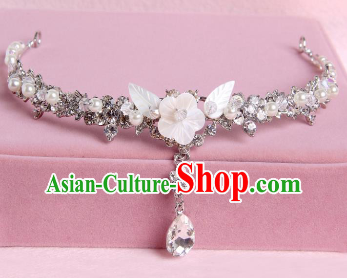 Handmade Baroque Bride Shell Flowers Crystal Hair Clasp Wedding Hair Jewelry Accessories for Women