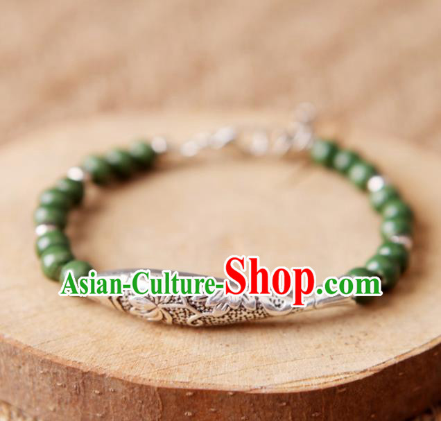 Top Grade Chinese Handmade Ceramics Green Beads Carving Fish Bracelet for Women