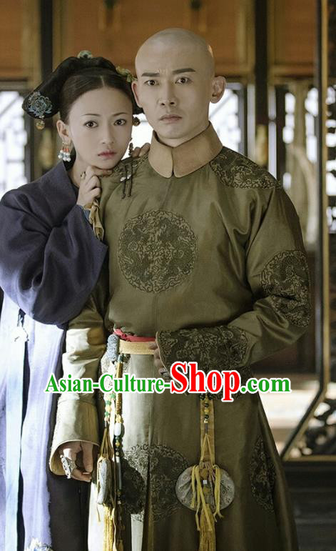 Story of Yanxi Palace Ancient Chinese Qing Dynasty Emperor Qianlong Embroidered Costumes for Men