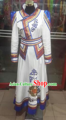 Chinese Traditional Folk Dance Costume Mongol Nationality White Dress for Women