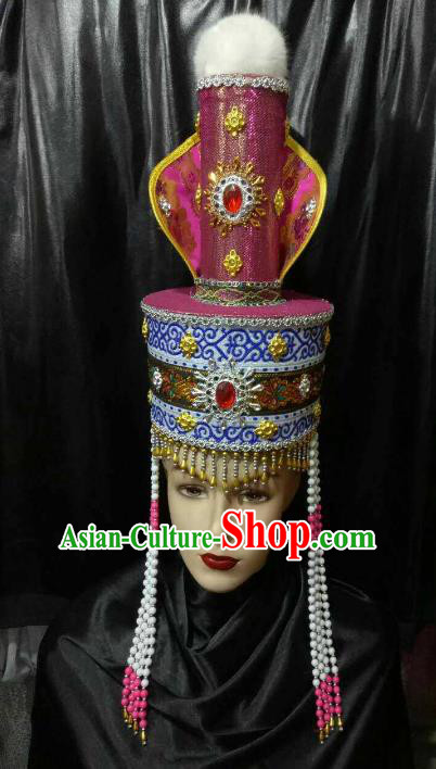 Chinese Traditional Mongolian Bride Hats China Mongol Nationality Queen Wedding Headwear for Women