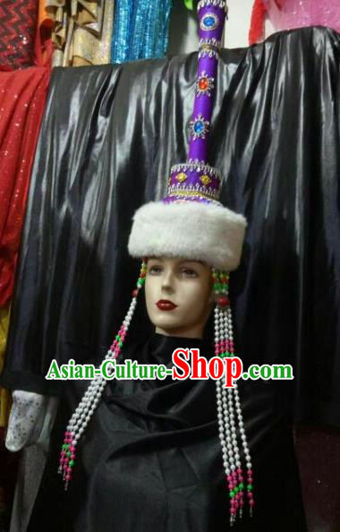 Chinese Traditional Mongolian Folk Dance Purple Hats China Mongol Nationality Bride Wedding Headwear for Women