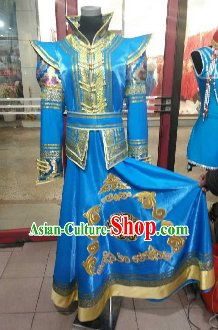 Chinese Traditional Mongolian Costume China Mongol Nationality Folk Dance Blue Mongolian Robe for Women
