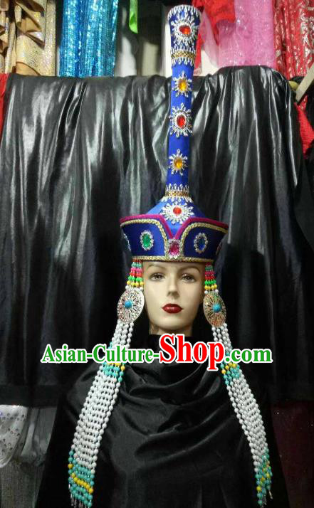 Chinese Traditional Mongolian Bride Royalblue Hats China Mongol Nationality Wedding Headwear for Women