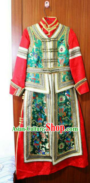 Chinese Traditional Mongolian Costume China Mongol Nationality Green Vest and Dress for Women