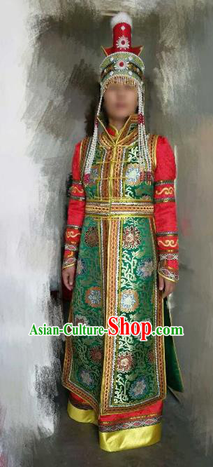 Chinese Traditional Mongolian Costume China Mongol Nationality Green Dress for Women