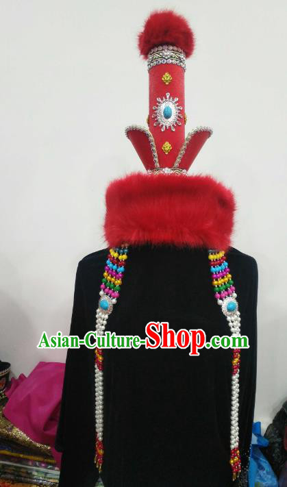 Chinese Traditional Mongolian Red Hats Mongol Nationality Hair Accessories Folk Dance Headwear for Women