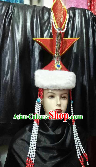 Chinese Traditional Mongolian Folk Dance Red Hats China Mongol Nationality Bride Wedding Headwear for Women