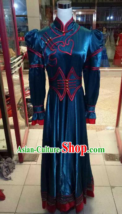 Chinese Traditional Mongolian Costume China Mongol Nationality Folk Dance Peacock Green Dress for Women
