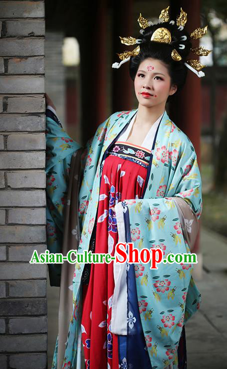 Traditional Chinese Ancient Imperial Concubine Costume Tang Dynasty Palace Lady Hanfu Dress for Women
