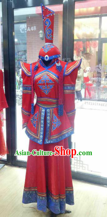 Chinese Traditional Mongolian Folk Dance Red Dress China Mongol Nationality Bride Costume and Hat for Women