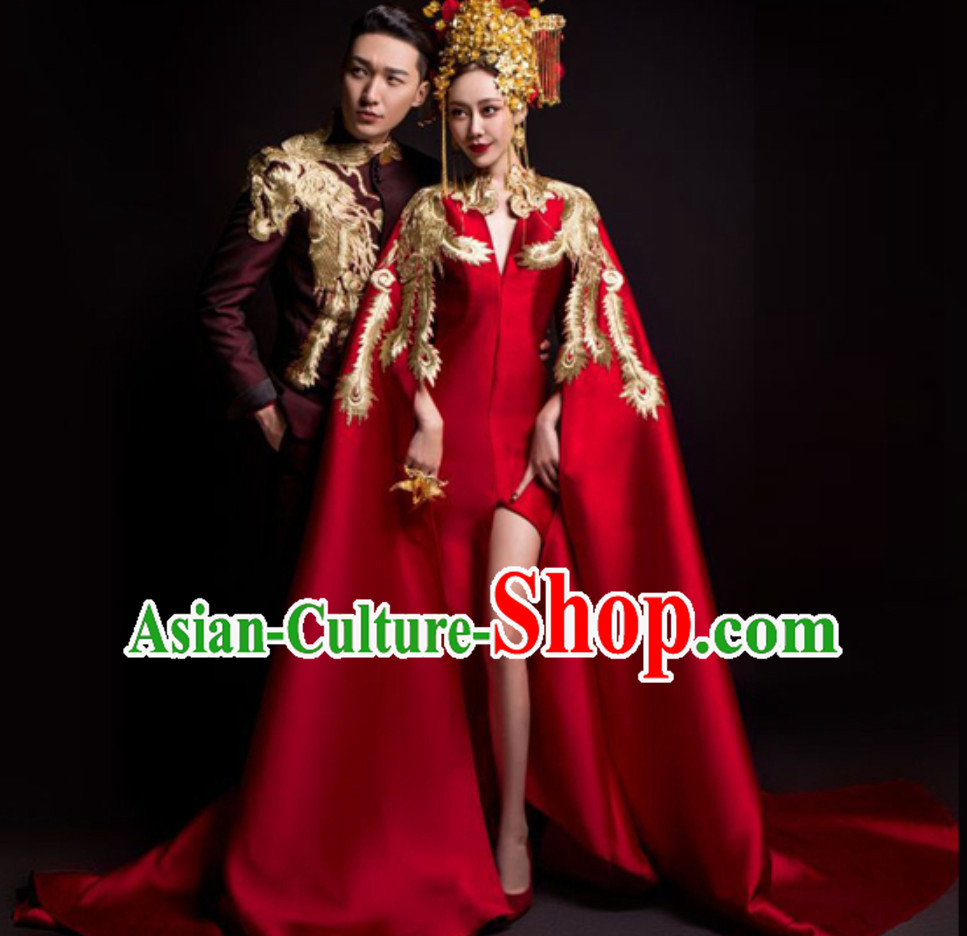 Top Chinese Classical Model Stage Evening Dress and Crown Complete Set