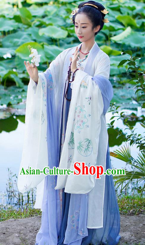Chinese Ancient Tang Dynasty Hanfu Dress Princess Embroidered Costume for Women