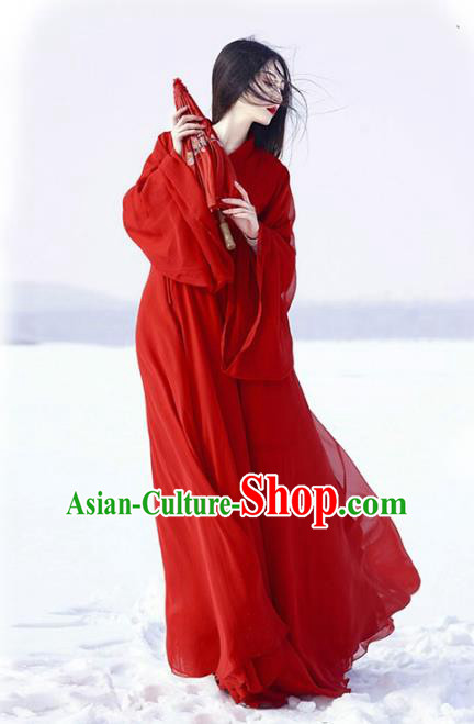 Chinese Jin Dynasty Swordswoman Red Hanfu Dress Ancient Palace Lady Costume for Women
