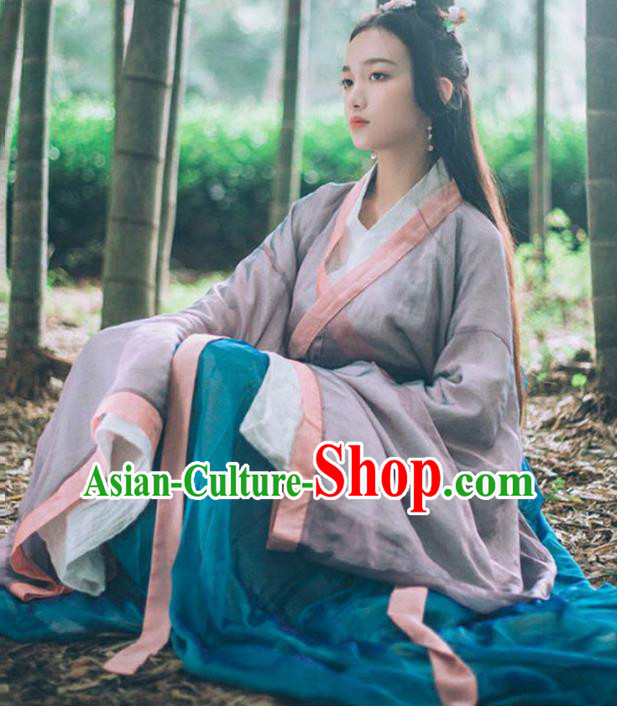 Chinese Jin Dynasty Female Swordsman Hanfu Dress Ancient Palace Princess Costume for Women