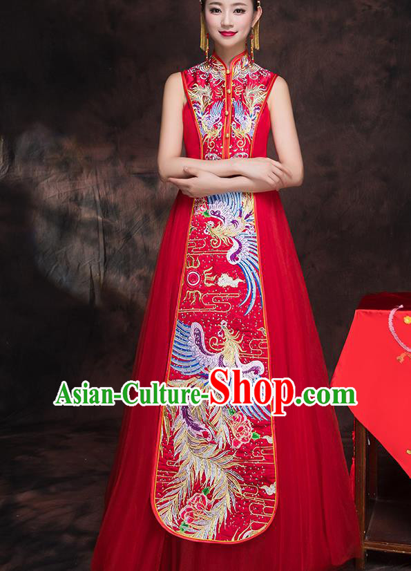 Traditional Chinese Embroidered Phoenix Xiuhe Suit Ancient Wedding Red Dress Toast Cheongsam for Women