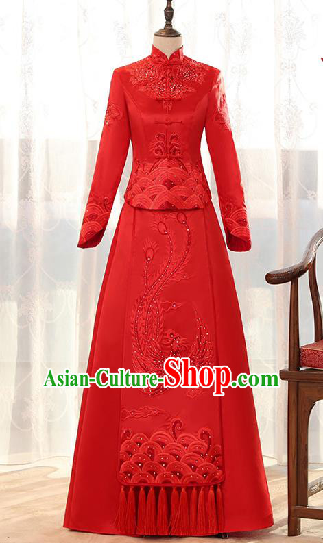 Traditional Chinese Ancient Red Bottom Drawer Embroidered Diamante Phoenix Xiuhe Suit Wedding Dress Toast Cheongsam for Women