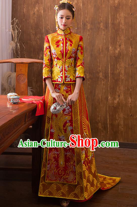 Traditional Chinese Ancient Red Bottom Drawer Embroidered Peony Xiuhe Suit Wedding Dress Toast Cheongsam for Women