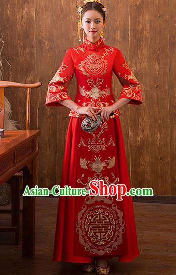 Traditional Chinese Ancient Red Bottom Drawer Embroidered Bats Xiuhe Suit Wedding Dress Toast Cheongsam for Women