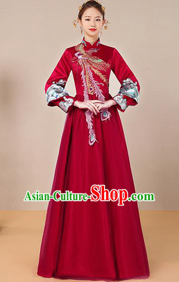 Traditional Chinese Ancient Toast Cheongsam Red Bottom Drawer Xiuhe Suit Wedding Dress for Women