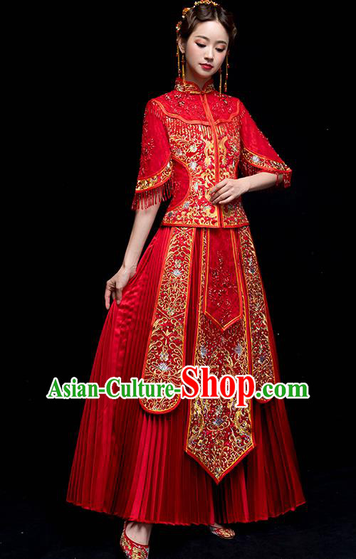 Chinese Traditional Wedding Embroidered Dress Ancient Bride Xiuhe Suit Clothing for Women