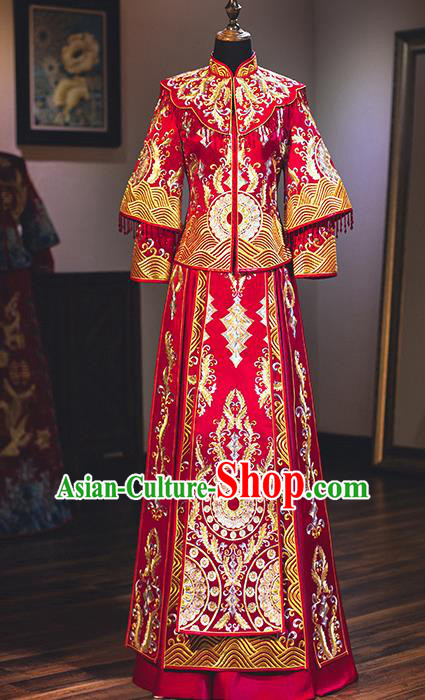 Chinese Traditional Wedding Embroidered Bottom Drawer Ancient Bride Xiuhe Suit Costume for Women