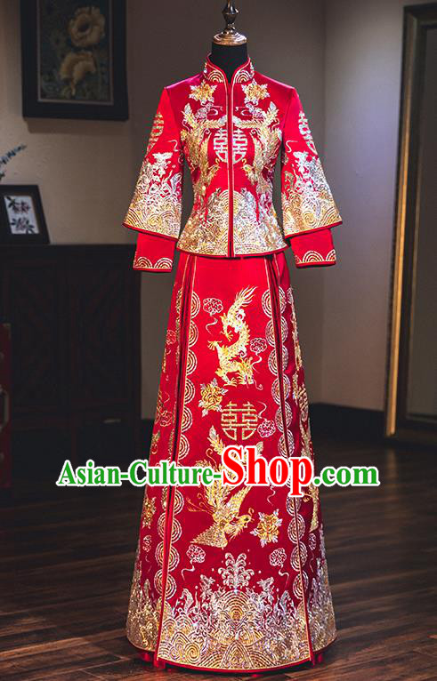 Chinese Traditional Wedding Dress Delicate Embroidered Bottom Drawer Ancient Bride Xiuhe Suit Costume for Women