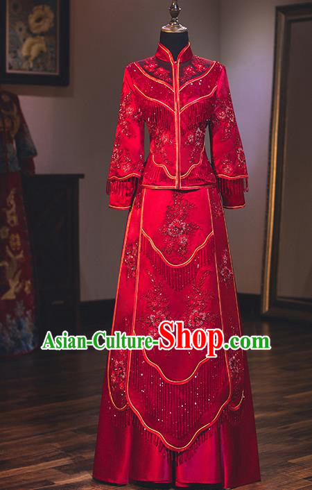 Chinese Traditional Delicate Embroidered Wedding Toast Dress Ancient Bride Longfeng Flown Xiuhe Suit for Women