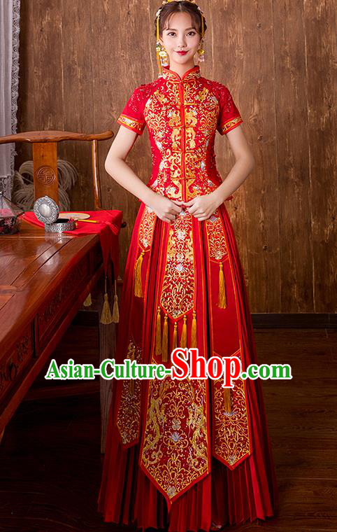 Chinese Traditional Embroidered Wedding Dress Ancient Bride Toast Longfeng Flown Xiuhe Suit for Women