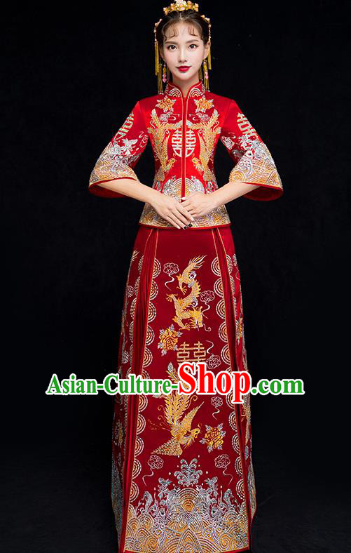 Chinese Traditional Xiuhe Suit Embroidered Wedding Dress Ancient Bride Cheongsam for Women