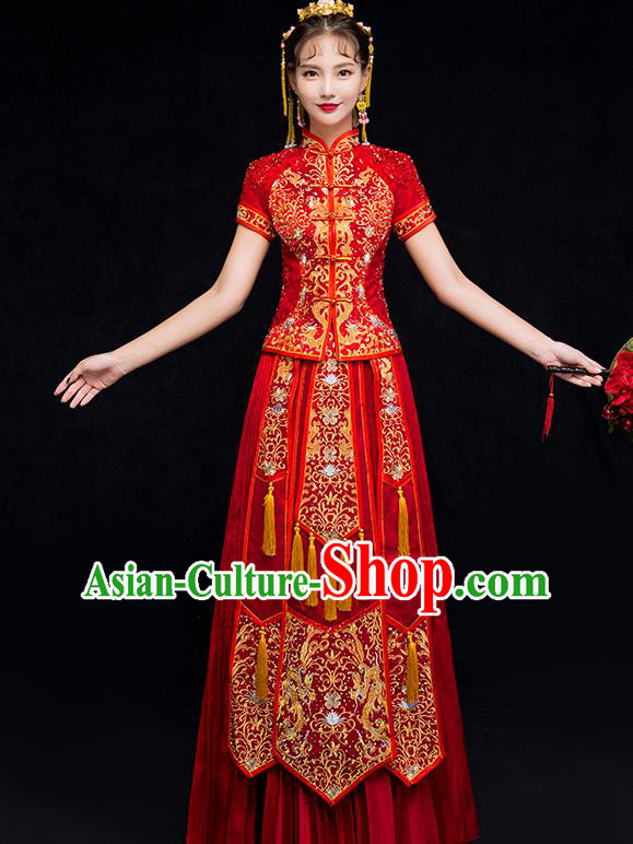 Chinese Traditional Embroidered Phoenix Xiuhe Suit Wedding Dress Ancient Bride Cheongsam for Women