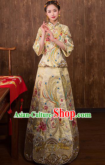 Chinese Traditional Embroidered Phoenix Bridal Golden Xiuhe Suit Wedding Dress Ancient Bride Cheongsam for Women