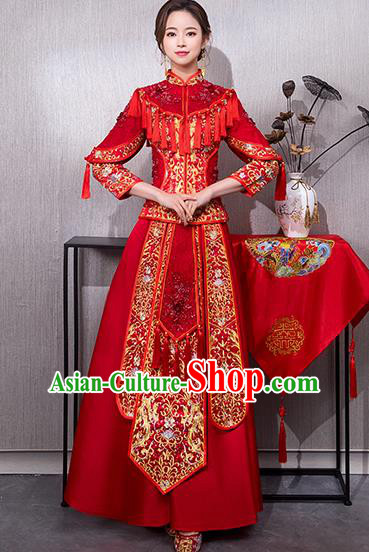 Chinese Traditional Bridal Red Xiuhe Suit Embroidered Wedding Dress Ancient Bride Cheongsam for Women