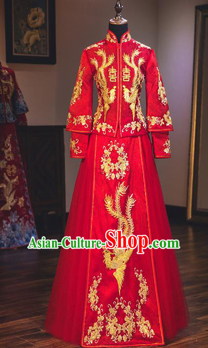 Chinese Traditional Red Wedding Dress Delicate Embroidered Phoenix Bottom Drawer Ancient Bride Xiuhe Suit Costume for Women