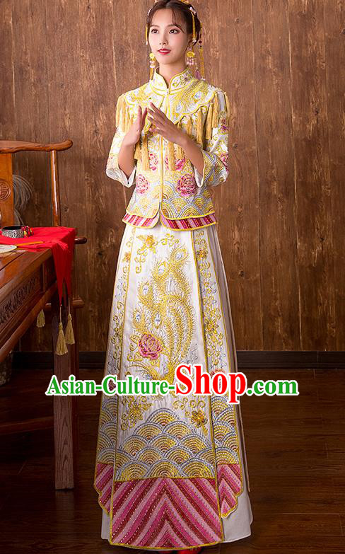 Chinese Traditional Bridal Yellow Xiuhe Suit Embroidered Peony Wedding Dress Ancient Bride Cheongsam for Women