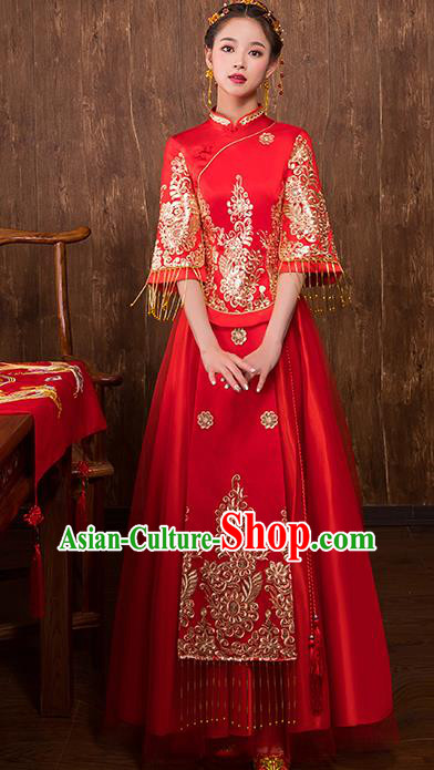 Chinese Traditional Bridal Toast Xiuhe Suit Red Wedding Dress Ancient Bride Cheongsam for Women