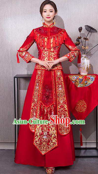 Chinese Traditional Wedding Costume Bridal Embroidered Xiuhe Suit Ancient Bride Red Cheongsam for Women