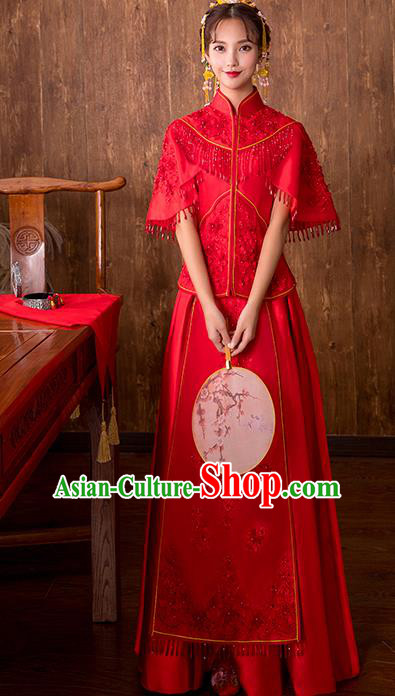Chinese Traditional Embroidered Wedding Costume Bridal Xiuhe Suit Ancient Toast Cheongsam for Women