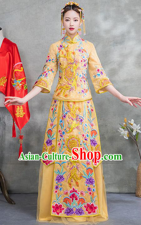 Chinese Traditional Embroidered Phoenix Bridal Yellow Xiuhe Suit Ancient Wedding Toast Cheongsam Dress for Women