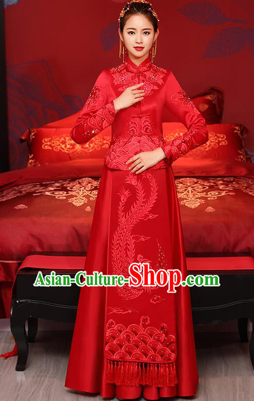Traditional Chinese Toast Cheongsam Ancient Embroidered Phoenix Bottom Drawer Xiuhe Suit Wedding Dress for Women
