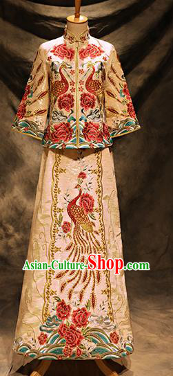 Traditional Chinese Toast Cheongsam Ancient Embroidered Phoenix White Bottom Drawer Xiuhe Suit Wedding Dress for Women