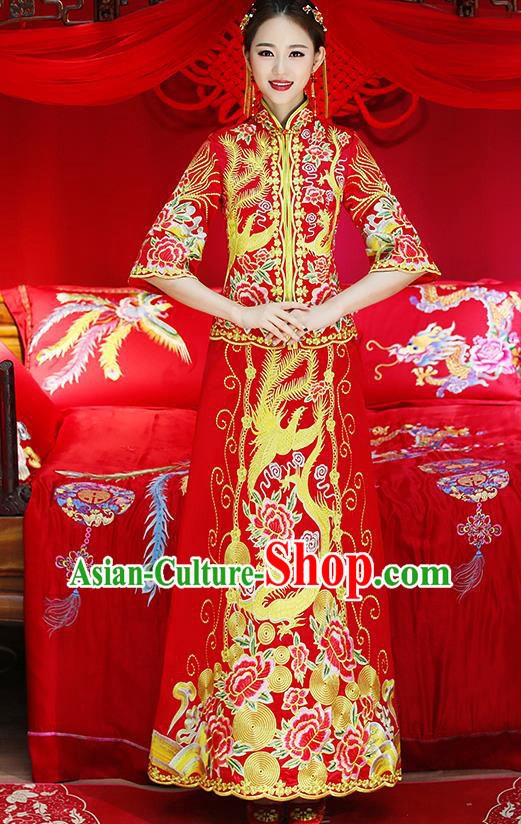 Traditional Chinese Toast Cheongsam Ancient Embroidered Dragon Phoenix Bottom Drawer Xiuhe Suit Wedding Dress for Women
