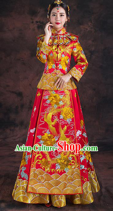 Traditional Chinese Red Toast Cheongsam Ancient Embroidered Phoenix Bottom Drawer Xiuhe Suit Wedding Dress for Women
